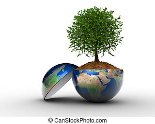 Environment concept - Tree grown in Earth globe section - 3d...