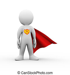 3d super hero superman in a raincoat - 3d illustration of...