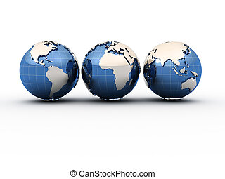 Earth globes - Three Earth globe showing all continents - 3d...