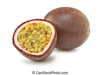 Isolated passion fruit cut in half on white background-...