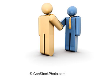 Deal - Two businessman icons shaking hands - 3d render