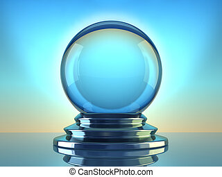 Crystal ball - Magic crystal ball on blue background - 3d...