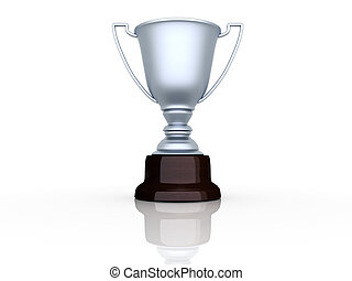 Champion cup sitting on white background - 3d render