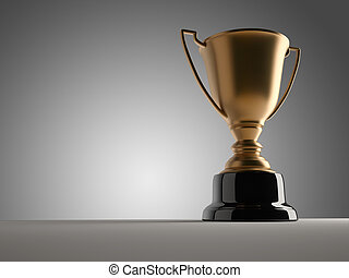 Champion cup - Golden champion cup sitting on a table - 3d...