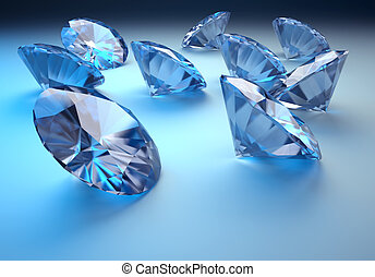 Diamonds - Close up illustration of diamonds - rendered in...