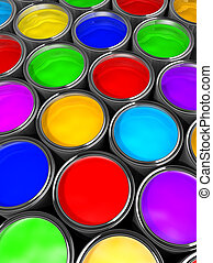 Paint cans - Illustration of paint cans with all colors - 3d...