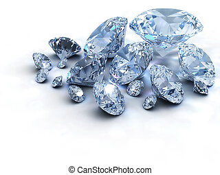 Diamonds - Lots of diamonds on white background - 3d render