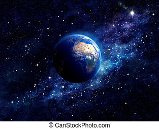 Planet Earth in outer space - Imaginary view of planet earth...