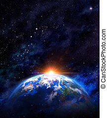 Sunrise over the Earth - Imaginary view of planet earth in...