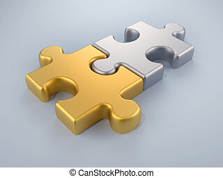 Fusion puzzle - Joined gold and silver puzzle pieces - 3d...