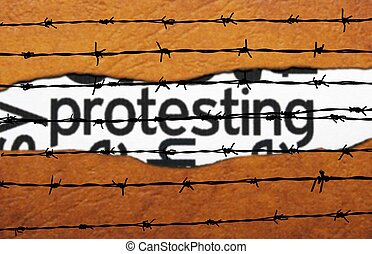 Protest concept on barbwire