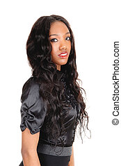 Black girl in black blouse - A lovely African American woman...