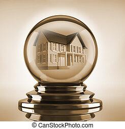 Dream house - Magic crystal ball with a house inside - 3d...