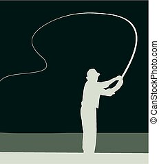 Angler - A silhouette image of an angler casting a fly