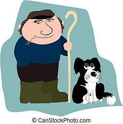 Farmer and dog - A cartoon farmer and his trusty sheepdog