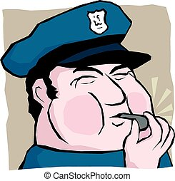 Cop blowing whistle - A cartoon image of a policeman blowing...