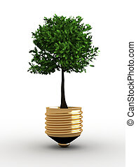 Ecology concept - Illustration of a light bulb with a tree...