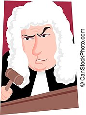 Judge - A cartoon image of a British judge with wig and...