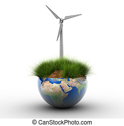 Windturbine - Section of Earth globe with grass and wind...