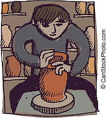 Potter - A man works at a potters wheel in his workshop.