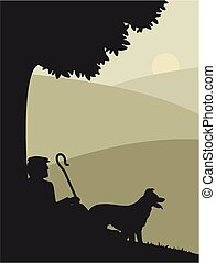 Shepherd at rest - A silhouette of a shepherd and his dog.