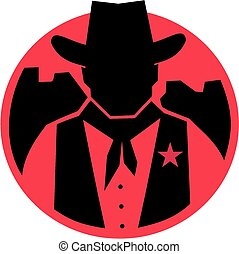 Silhouette cowboy sheriff - A badge type image of a...
