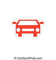icon sticker realistic design on paper car