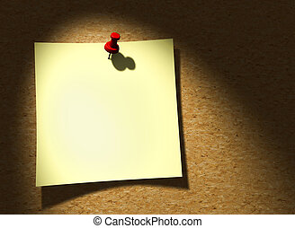 Paper note - Yellow paper note on a wooden wall - 3d render