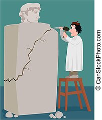 The sculptors mishap - A sculptor hits the wrong spot with...