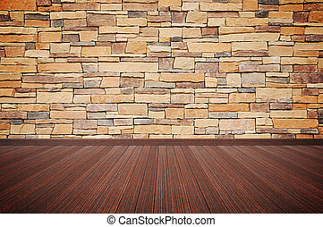 Wooden floor with stone wall - empty room background