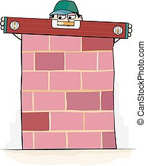 Uneven spirit level - A builder checks his spirit level on a...