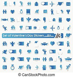 Set of Valentine's Day stickers