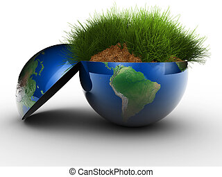 Environment concept - Section of Earth globe filled with...
