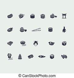Set of sushi icons
