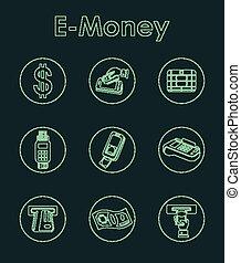 Set of e-money simple icons