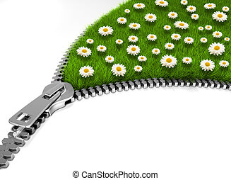 Open flower field - Zipper opening a flower field - 3d...