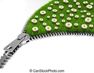Open flower field - Zipper opening a flower field - 3d...