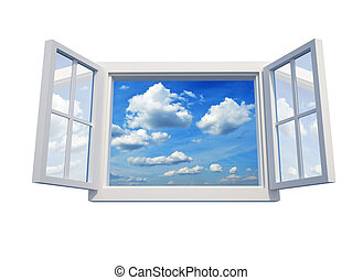 Window to sky - Window open to the sky isolated on white...