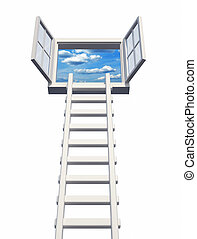 Opportunity - Ladder on an open window, isolated on white -...