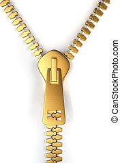 Gold zipper - Golden zipper on white background - 3d render