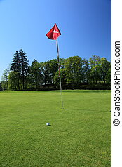green of a beautiful golf course - golf ball next to a flag...