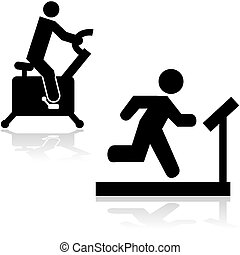 Gym icons - Icons showing a person running on a treadmill...