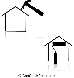 Home renovation - Icons showing a house with a hammer and...