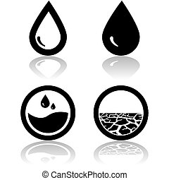 Water and drought - Icons showing water and also land...