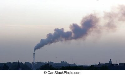 Industrial chimney - Big chimney with grey smoke