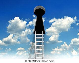 buraco fechadura, escada
