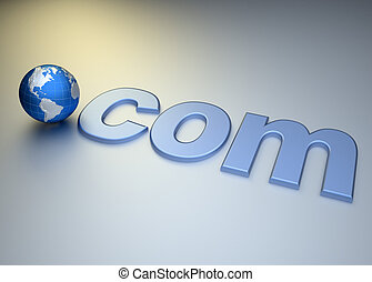 Dot com - Conceptual web domain address - rendered in 3d