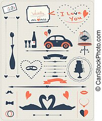 Set of elements for wedding design The kit includes ribbons,...