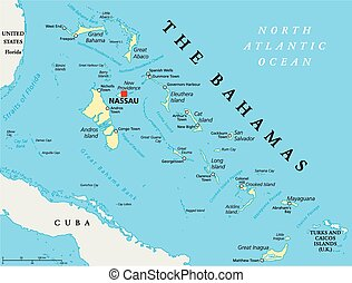 The Bahamas Political Map with capital Nassau, important...