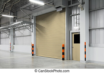Door - Shutter door or rolling door beige color, night...